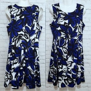 INC Blue and Black Floral Abstract Dress sz L